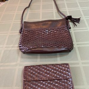 Talbots Brown Leather Handbag with matching wallet
